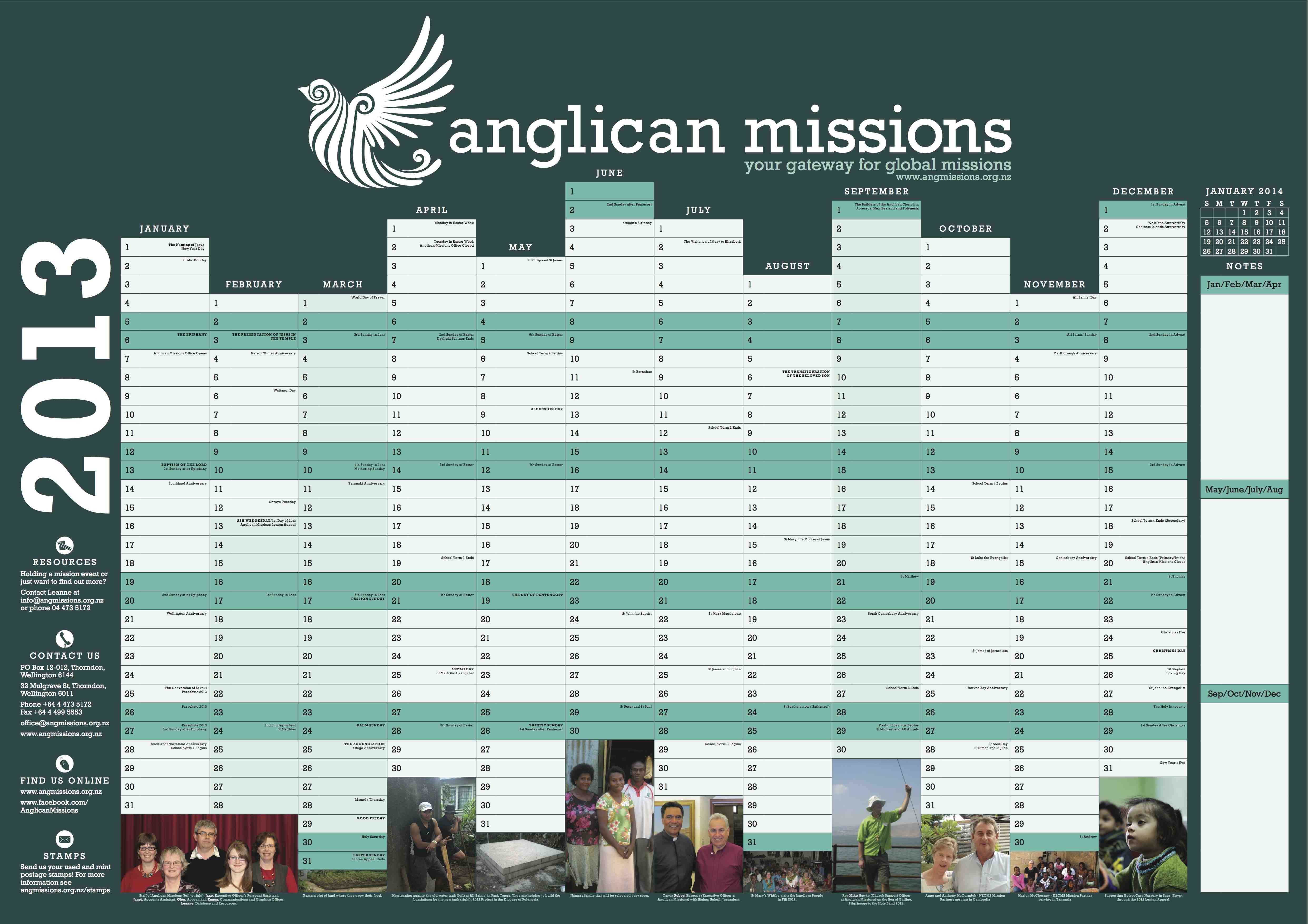 Calendar Planner Nz : Anglican church of or calendar liturgy